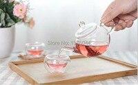 1 комплект Высокое качество 3 шт./компл. мини kongfu стеклянный чайник Набор 1 шт. 250 мл чайник + 2 шт. 50 мл двухслойная стеклянная чашка OL 0129