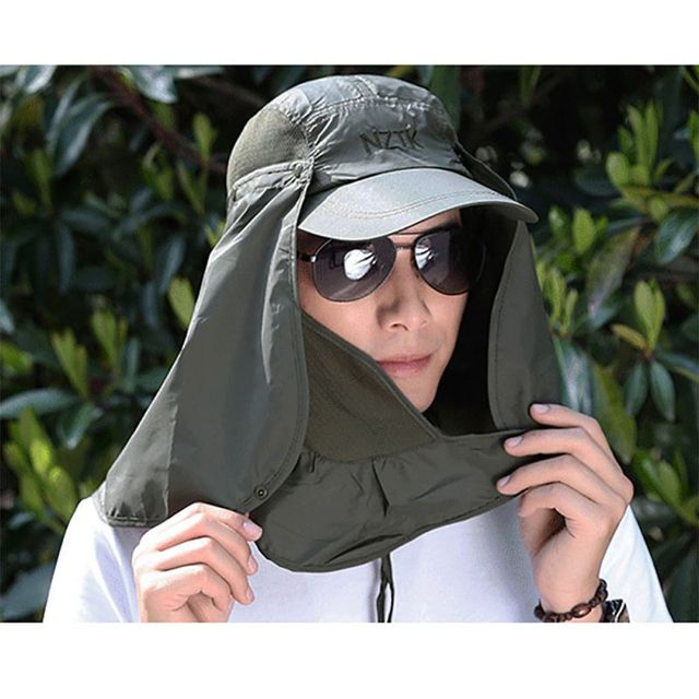 Unisex Outdoor Sport Fishing Hiking Hat UV Protection Face Neck Flap Man  Sun Cap 3c429e1b98fb