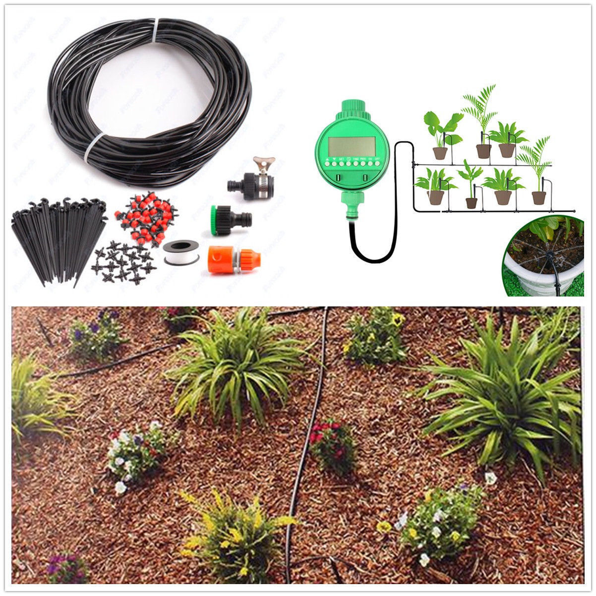 Water Irrigation Kit Set Micro Drip Watering System Automatic Plant Garden-T Neu