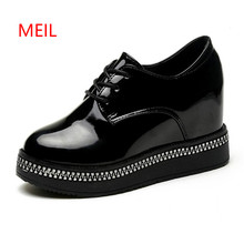 цены Women Pumps Women Platform Black Wedge Heels Designer Shoes Extreme High Heel Lace Up Pumps 2018 Spring Autumn Female Shoes