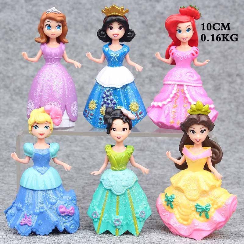 Way Into Looove Store 6PCS Princess Magic Clip Doll Aurora Belle Ariel Rapunzel Cinderella Figures Toy Babies Girls Toys