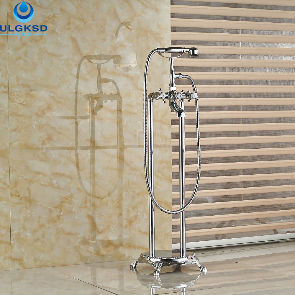 Ulgksd Wholesale and Retail Bathroom Tub Faucet Chrome Brass W/Hand Shower Tub Filler Bathtub Mixer Tap Faucet2 Cross Vessel