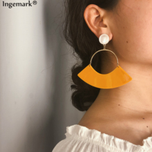 Ingemark Bohemian Acrylic Drop Earrings Statement Ladies Ornaments Vintage Imitation Pearls Scalloped Dangle Earring Party Gifts