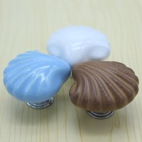 Conch Shape Cartoon Ceramic Children Room Knobs Blue White Office Ceramic Drawer Cabinet Wardrobe Handles Pulls