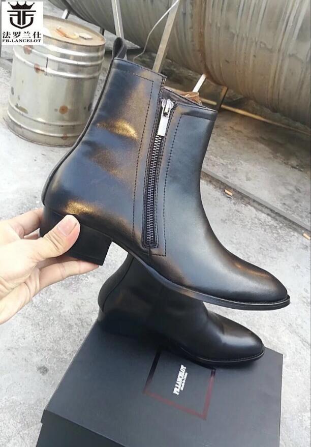FR.LANCELOT New 2019 black boots men leather boots matt Leather side zip ankle booties fashion mujer botas low  men bootsFR.LANCELOT New 2019 black boots men leather boots matt Leather side zip ankle booties fashion mujer botas low  men boots