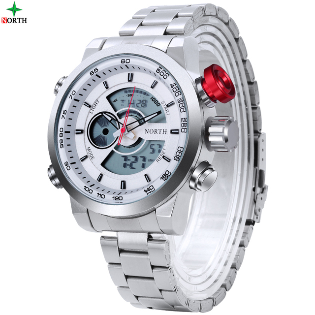 NORTH Watch Men Luxury Brand Sport LED Digital Watch Stainless Steel Waterproof Quartz Wristwatch