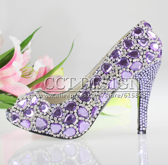 81b0ba3ec271 Sexy Women Purple Crystal High Heels Peep Toe Wedding Shoes With Purple  Rhinestones Strand Party Shoes Free Shipping-in Women s Pumps from Shoes on  ...