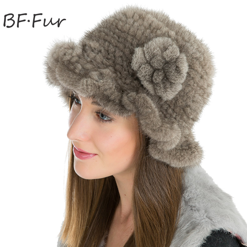 Gray Winter Warm Real Mink Fur Hats For Women Winter Fur Cap Fashion Natural Solid Color Beanies Ladies Knitted Cotton Bonnet russian real mink fur hat for female animal fur winter warm beanies fashion solid color cap natural color bonnet girls hats