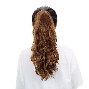 Image 3 - 18 「合成爪ポニーテールかつらヘアピース延長ブラウンブロンドで人間ポニーテールヘアエクステンション耐熱