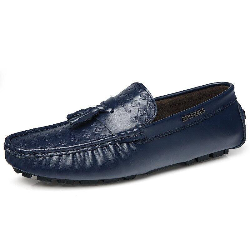Gestante Split Outono Masculinos Da Dos Moda Tendência Grande Sapatos Casuais Mocassins Borlas Bangladesh Flats Couro Condução Homens Feijão Tamanho De azul Preto fH8rwf