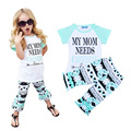 Retail Letter Pattern Kids Girl Clothing Sets Summer Style Love T Shirt+Ruffle Pants Set 2016 Brand Baby Girl Clothes Set roupa