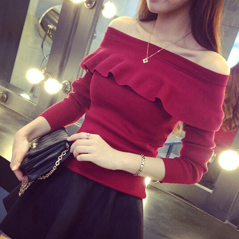 2015-womens-fall-fashion-Pullover-Ruffle-shoulder-off-Sweater-Knitted-Loose-Pullovers-KB836(1)