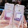Para el caso iphone 6 rhinestones de bling de la cubierta de lujo quicksand teléfono caso para iphone 6 s plus envío cristal cordón para el iphone 7/Plus