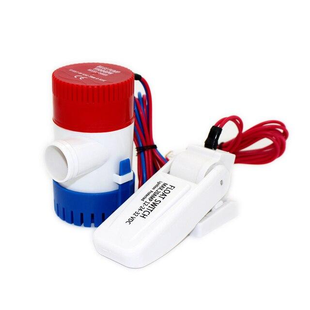 FREE SHIPPING 1100GPH mini boat bilge pump with float switch dc 12v 24v kayak rule water electric 1100 gph manual marine 12 v