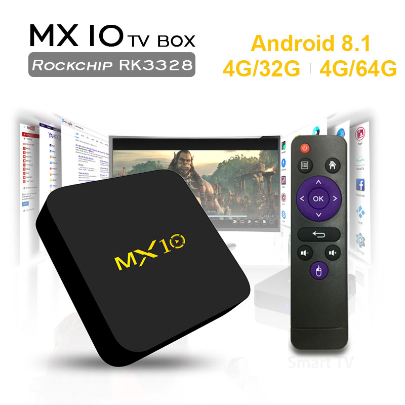 MX10 tv box android 8.1 smart tv RK3328 Quad Core 4GB32GB/4GB64GB 2.4Ghz Set-Top BOX media player