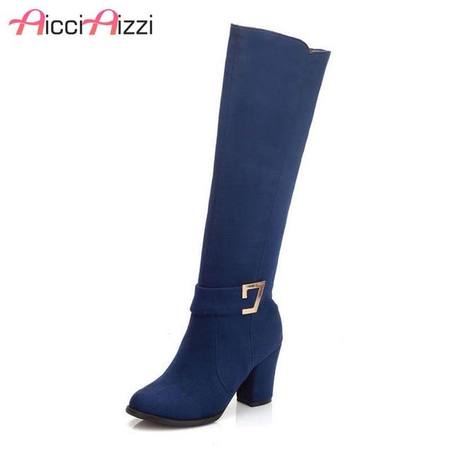 9abb16573 Tamanho 32-48 mulheres praça salto alto sobre o joelho bota inverno quente  moda britânica