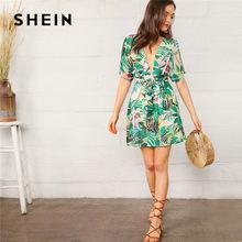 134283d321f SHEIN Boho profond col en V dos ouvert chaîne et impression tropicale robe  Sexy femmes plage vacances taille haute robe d été ce.