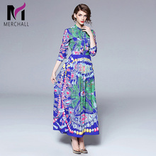 Merchall Fashion Designer Runway Dress Spring Women Long Sleeve Bow collar Vintage Floral Print Casual Holiday Blue Maxi Dress baogarret fashion designer autumn dress women s long sleeve bow collar tiered floral leopard print vintage dress