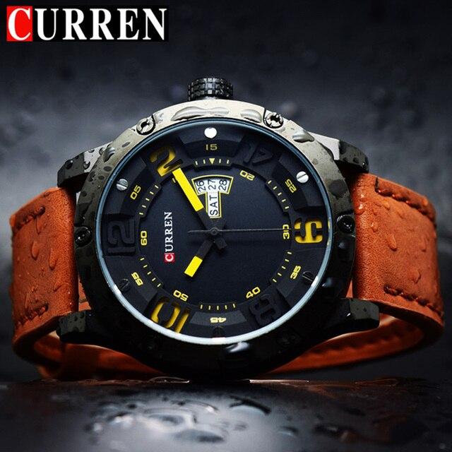 CURREN Military Quartz Men Watches Top Brand Luxury Leather Man Watch 2017  Male Wristwatch Hodinky Relogio 6bf9bdefff