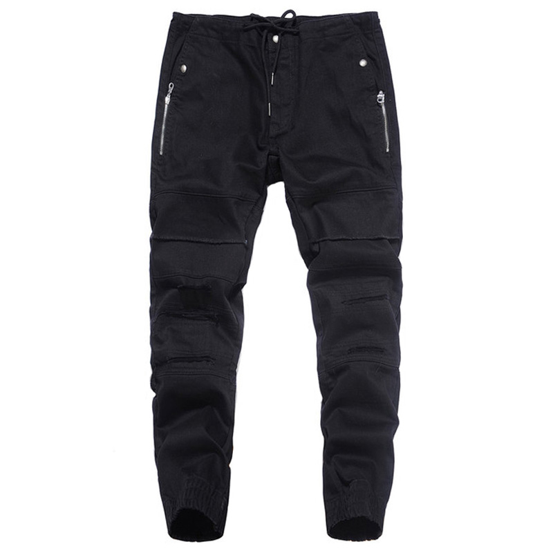 2017 Newly Autumn Fashion Mens Jeans Jogger Pants Black Color Denim Ankle Banded Jeans Men Brand Designer Spliced Lace Pants 2017 tide brand off white winter new men s wear striped rose embroidery denim pants men jeans jogger pants high quality