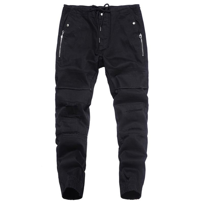 2017 Newly Autumn Fashion Mens   Jeans   Jogger Pants Black Color Denim Ankle Banded   Jeans   Men Brand Designer Spliced Lace Pants