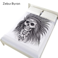 3D Bed Sheets On Elastic Band Bed,160x200 Fitted Sheets,Mattress Cover for bed.Bedsheet Bedding,Bed Linen Indian lady Skull