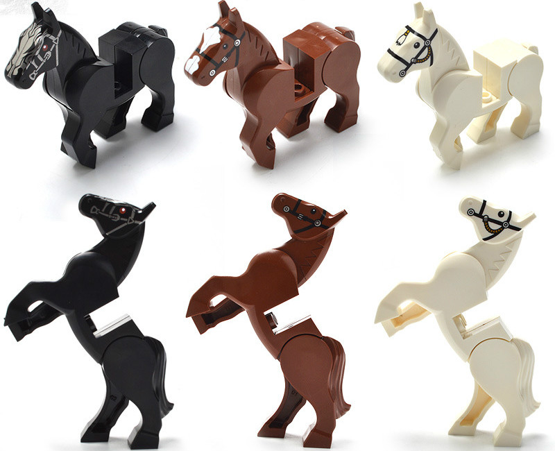horse military horse fittings building block assemble toy white horse boy young quickly sell pass