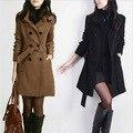 Женское пальто на осень и зиму  однотонное двубортное облегающее пальто с регулируемой талией и высоким воротом  большие размеры