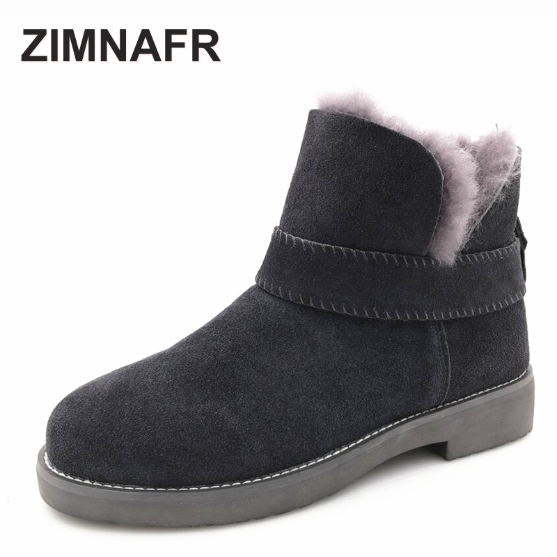 ZIMNAFR BRAND 2017 WOMEN FUR SNOW BOOTS GENUINE LEATHER  WINTER BOOTS  ANTISKID COW LEATHER ANKLE BOOTS WOMEN SHOES SIZE 36-41 men shoes cow muscle fur male new arrival cotton padded man snow boots winter ankle warmth pull on low heeled thread antiskid page 3