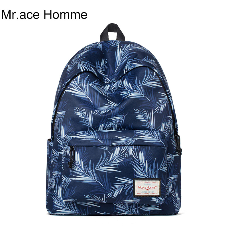 Mr.Ace Homme Fashion Backpacks Women Men Nylon Casual Printed Travel Backpack Preppy Style Students School Bags for Teenagers purple flowers printed dream teenagers backpack fresh preppy adorable sthdents school bags fashion travel hiking computer bag