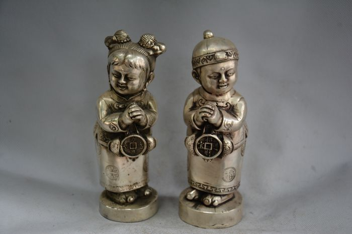 Lovely Old QingDynasty Silver Carving/ Statue----Lucky Boy, A pair, best collection&adornment,free shippingLovely Old QingDynasty Silver Carving/ Statue----Lucky Boy, A pair, best collection&adornment,free shipping