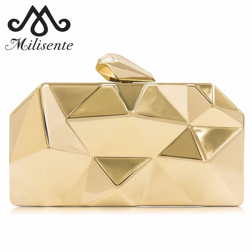 Milisente Women Metal Clutches Top Quality Hexagon Mini Clutch Bag Black Silver Evening Bag Gold Box Clutch цена 2017