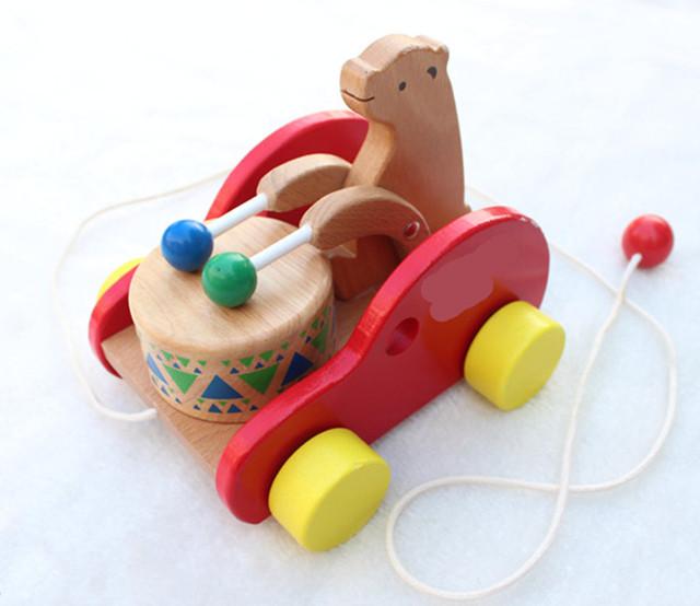 Novo bebê Urso de brinquedo de madeira puxando a corda para puxar o carro de blocos de madeira educacionais do bebê brinquedo do bebê dom Gratuito grátis