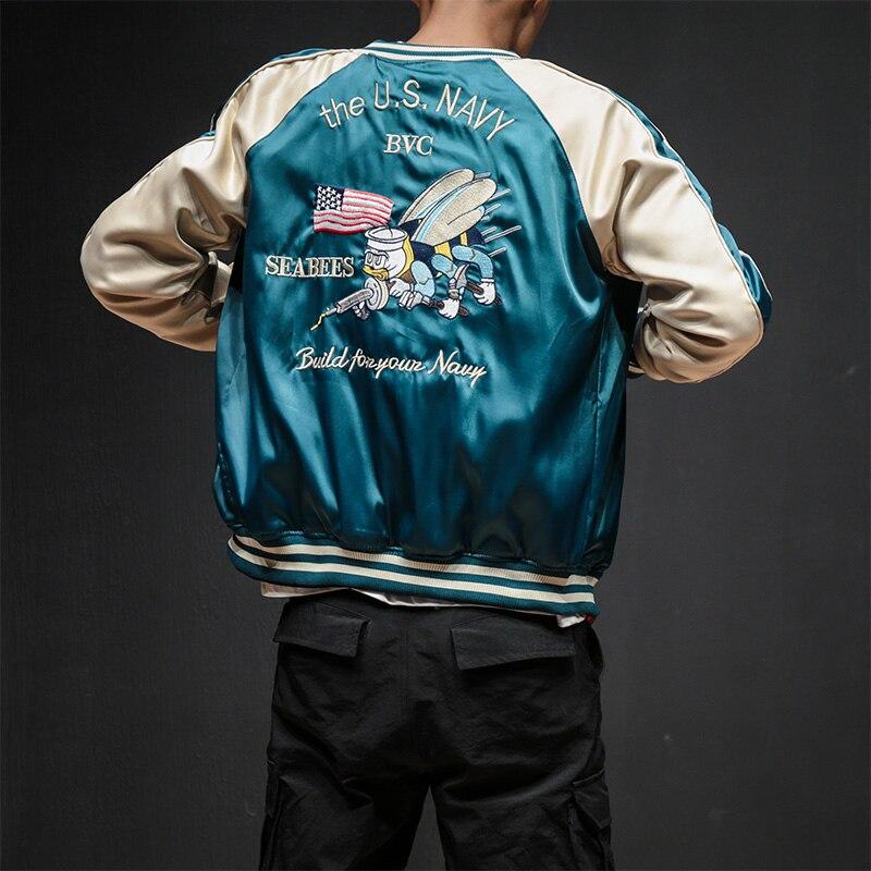 Deux Côtés De Luxe Broderie Blouson Lisse Hommes Sukajan Yokosuka Souvenir Veste Streetwear Hip Hop Veste De Baseball