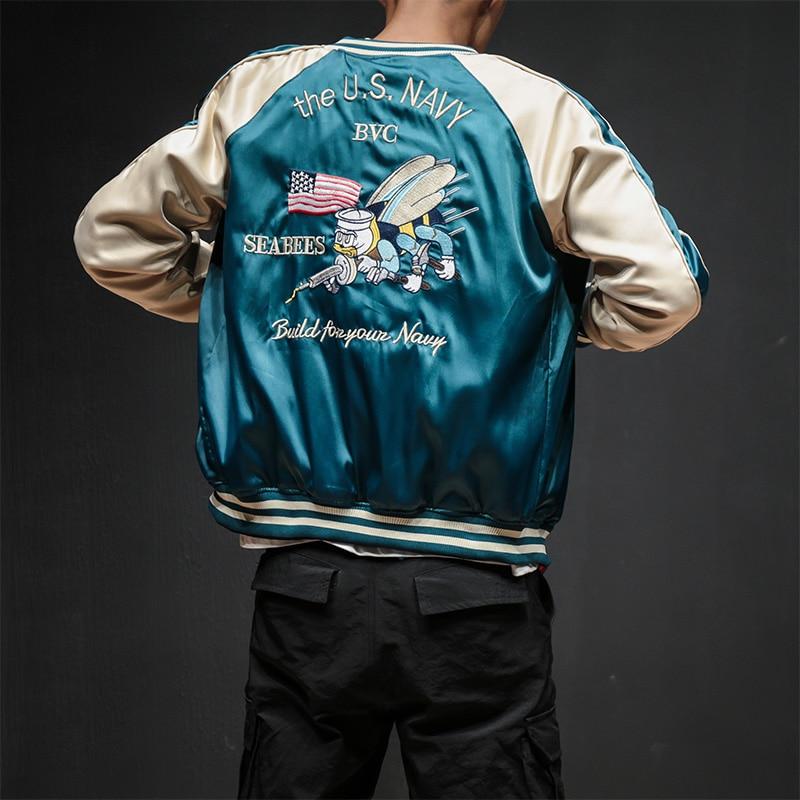 Due Lati Del Ricamo di Lusso Bomber Uomini Smooth Sukajan Yokosuka Souvenir Giacca Streetwear Hip Hop Giacca Da Baseball