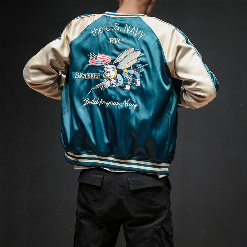 Two Sides Luxury Embroidery Bomber Jacket Smooth Men Sukajan Yokosuka Souvenir Jacket Streetwear Hip Hop Baseball Jacket