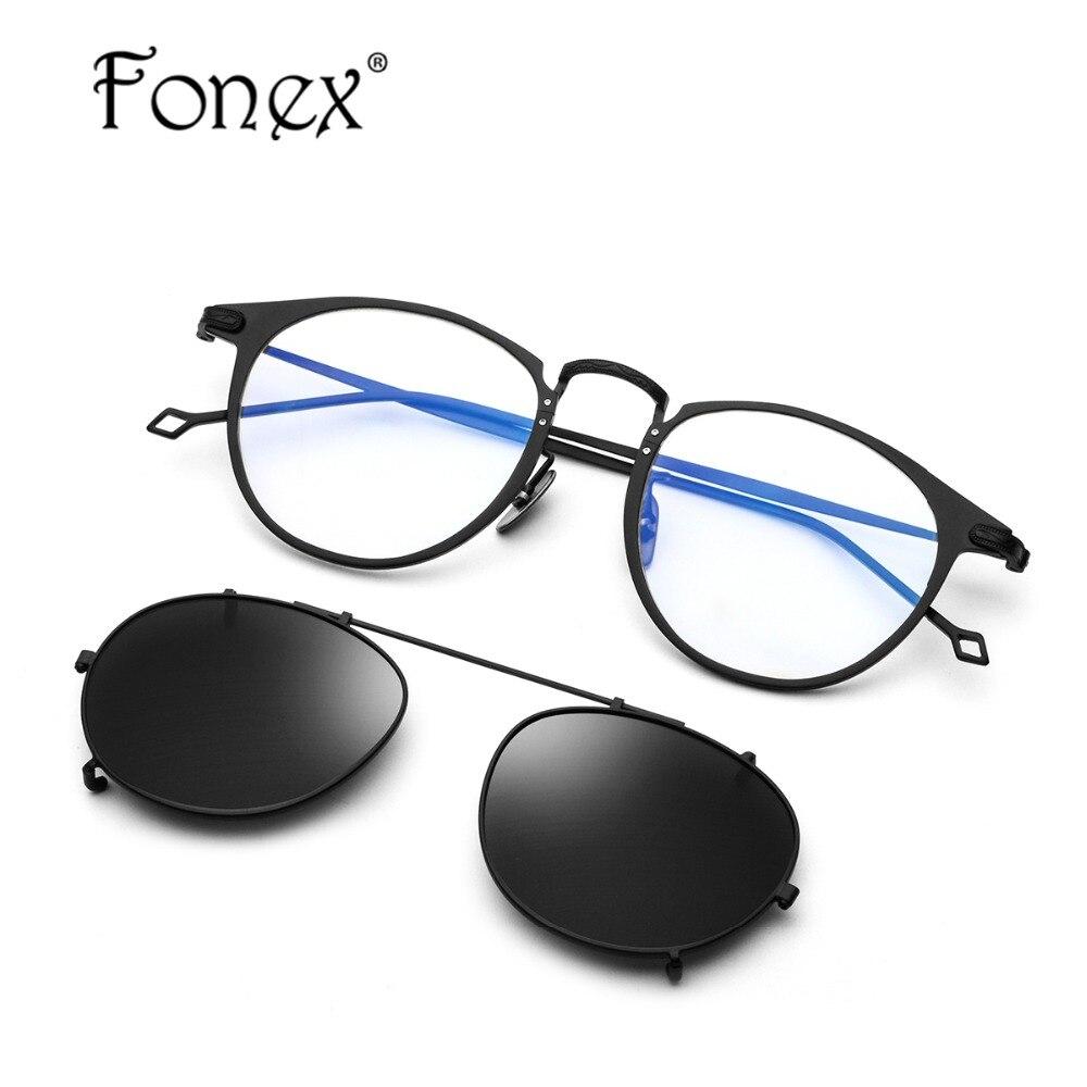 B чистый Титан очки кадр Для мужчин Сверхлегкий клип на поляризатор солнцезащитные очки Для женщин Круглый Оптические очки