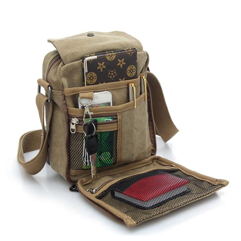 купить Canvas Men Bag Zipper Vertical Casual Flap Shoulder Crossbody Bags 2017 Designer Handbags Men's Messenger Bag for по цене 1630.58 рублей