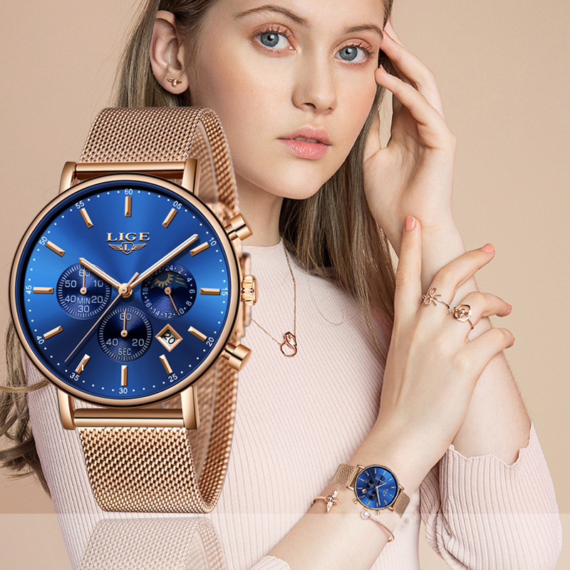 Reloj Mujer Fashion Woman's Watch Top Brand luxury Stainless Steel Chronograph Woman Casual Rose Gold Blue Analog Quartz Watch
