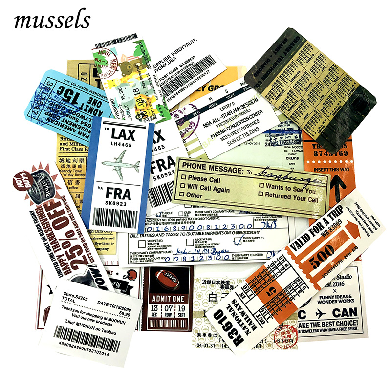 25Pcs Vintage Invoice Ticket Check Model Stickers For Luggage Skateboard Guitar Computer Motorcycle Travel Graffiti Luggage