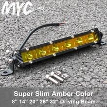 26 Inch 32 72W 90W Super Slim Single Row Spot Beam Led Light Bar For Jeep Boat SUV 4X4 Off Road Yellow 12V 24V
