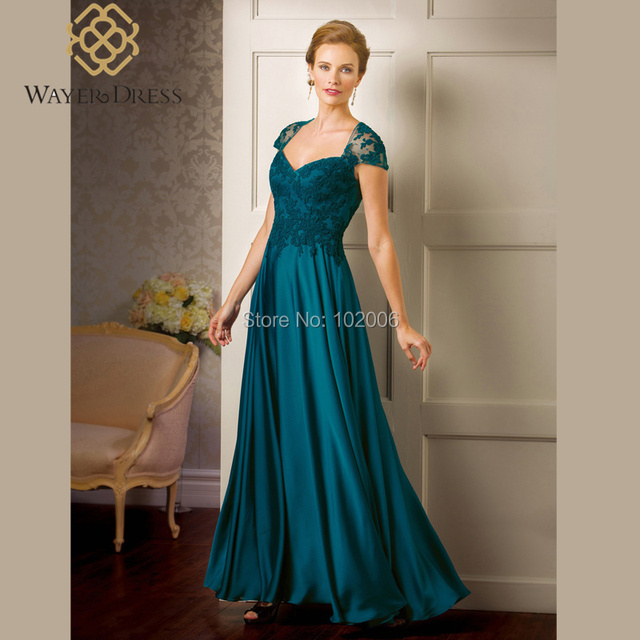 Elegant Lace Appliques A-line Teal Mother of the Bride/Groom Dresses Cap Sleeves Long Evening Dresses vestidos de festa longo
