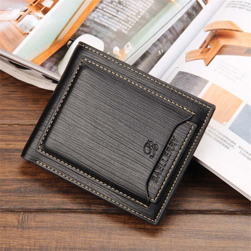 Hot sale Short designer Mens leather wallets Multifunctional Brand male purse card holder Black Coffee