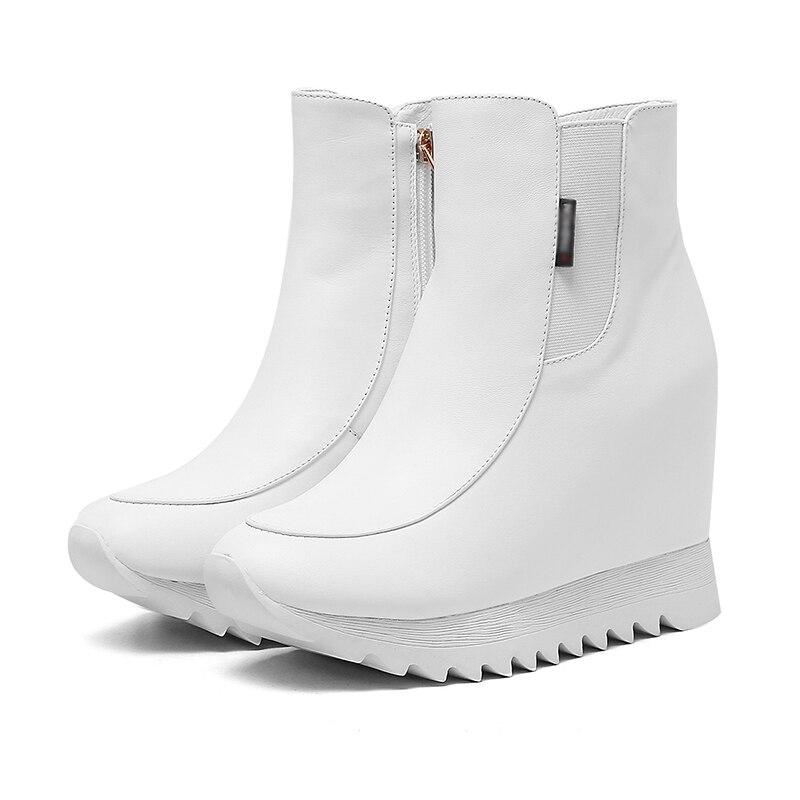 Femmes Couleur 2019 White Noir Hiver Pur Chaussures En Rond 5qAddtw1