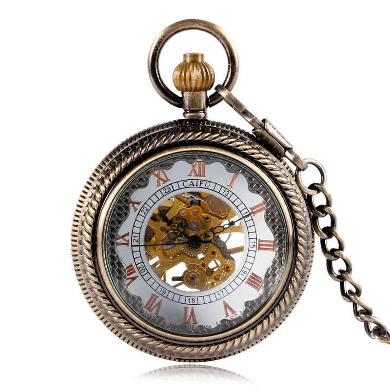 Vintage Bronze See-through Clock Mechanical Hand Wind Pocket Watch Skeleton Carving Fob Clock With Chain Men Women Xmas Gift