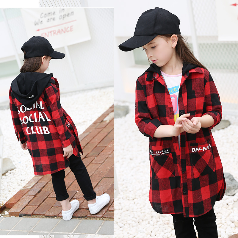 2017 Autumn Newest Girls Long Clothes Teens Dress Kids Checked Plaid Tops Children Clothing for 5678910