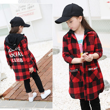 2017 Autumn Newest Girls Long Clothes Teens Dress Kids Checked Plaid Tops Children Clothing for 5678910 11 12 13 14 Years old
