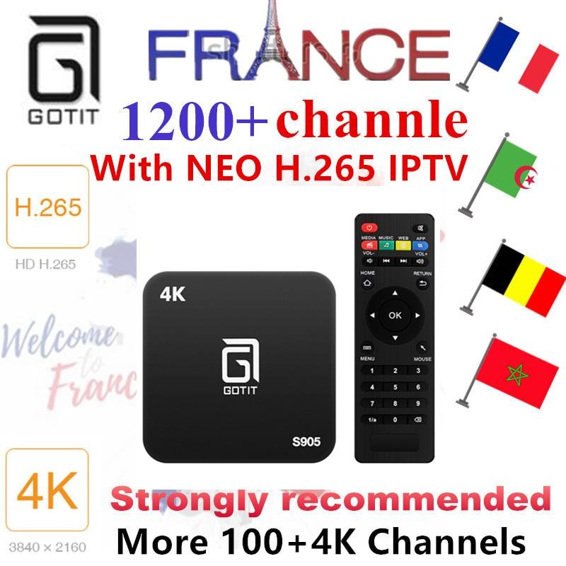 French Belgium IPTV GOTiT S905 4K Smart Android TV box 1000+NEOTV H.625 4K IPTV Arabic Tunisia Morocco Germany Italy PayTV & VOD belgium culture smart