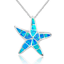 DORMITH 925 sterling silver necklace synthesis blue opal Starfish pendants rhodium plating for women jewelry DP0093