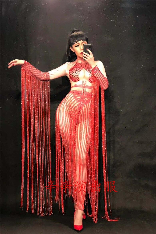 Women New Red Female Songs Host Performance Stage Adult Models Diamond Red Long Tassel Sexy Bodysuit Bodysuit Party Celebration